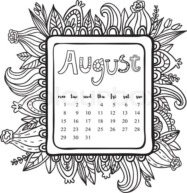 Blank Calendar Clipart : August calendar doodle frame cute floral decorated
