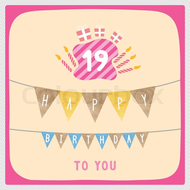 Happy 19th birthday anniversary card with gift boxes and candles – Happy 19th Birthday Cards