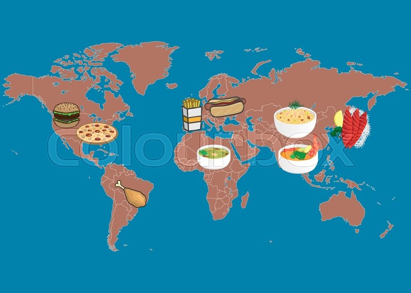Nutrition Food In Different Countries On World Map, Vector