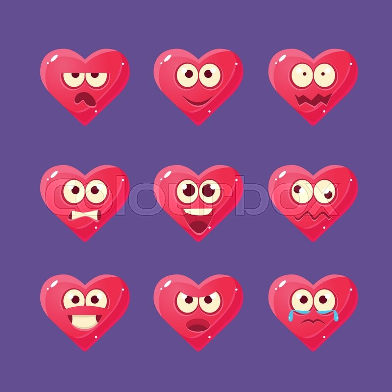 pink heart emoji character set of flat bright color trendy cartoon design vector icons isolated on violet background stock vector colourbox