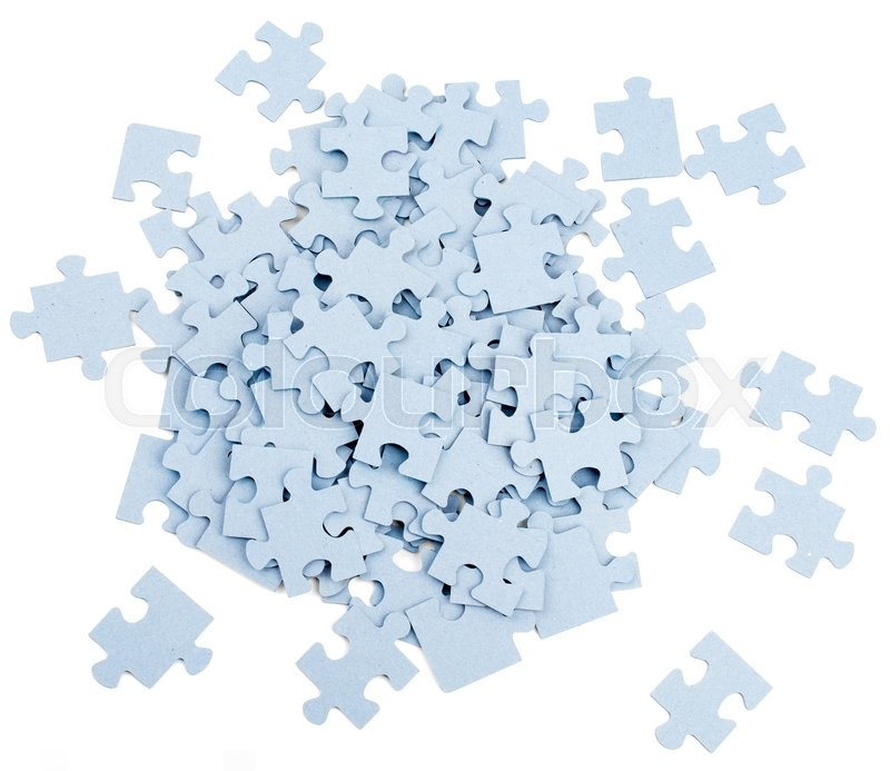 Pile Of Grey Blank Puzzle Pieces