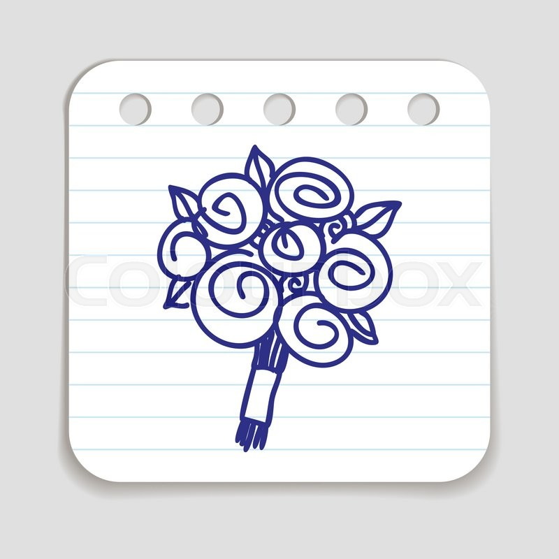 Doodle Flower Bouquet icon. Blue pen hand drawn infographic symbol ...