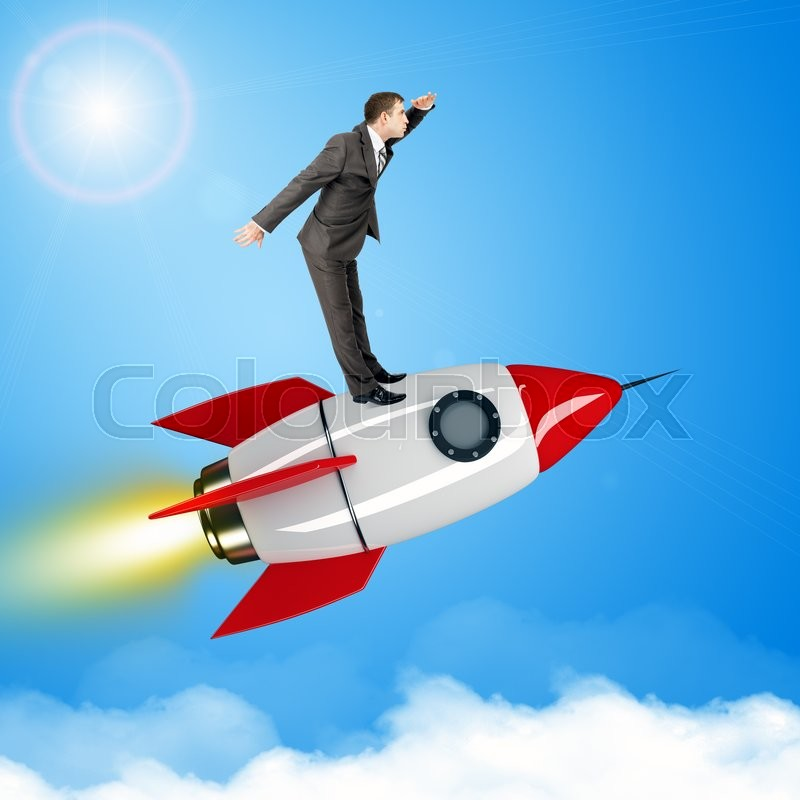 Stock image of 'Businessman flying on jet rocket above city in sky'