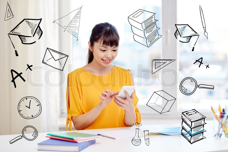Stock image of 'people, education, high school, technology and learning concept - happy asian young woman student with smartphone texting message at home with doodles'
