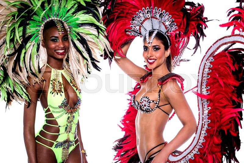 Stock image of 'Smiling beautiful girls in a colorful carnival costume'
