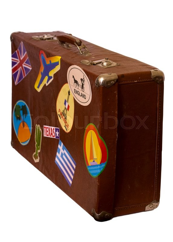 Stock image of 'old brown suitcase with label on the side view slightly. On white background'