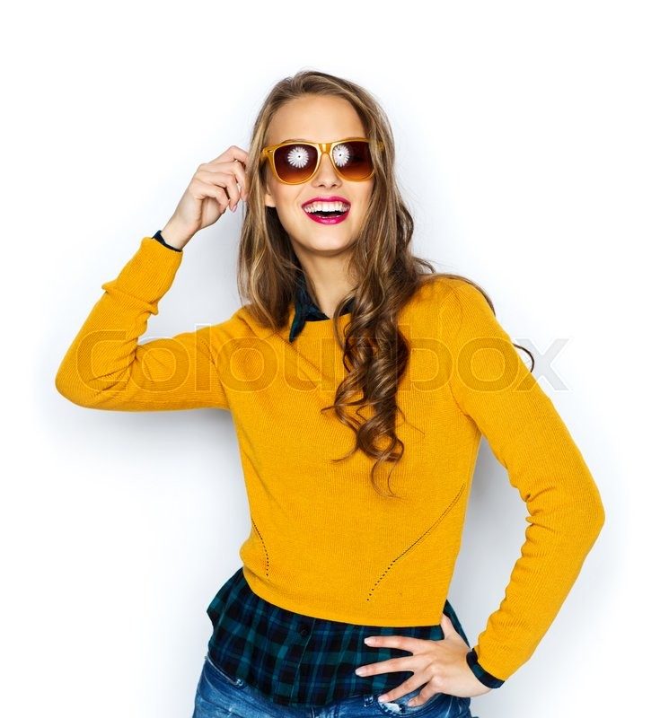 Stock image of 'people, style and fashion concept - happy young woman or teen girl in casual clothes and sunglasses'