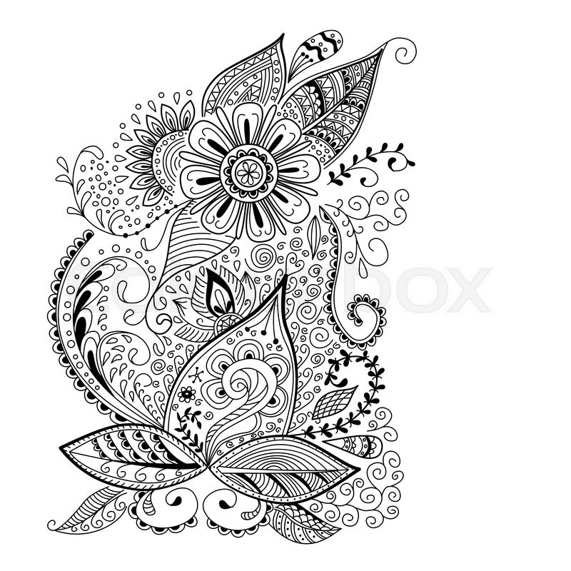 Abstract Floral Background In Doodle Or Henna Mehndi Style