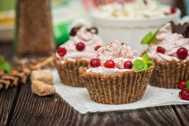 Stock image of 'Homemade dessert from cottage cheese cream biscuit and berries'