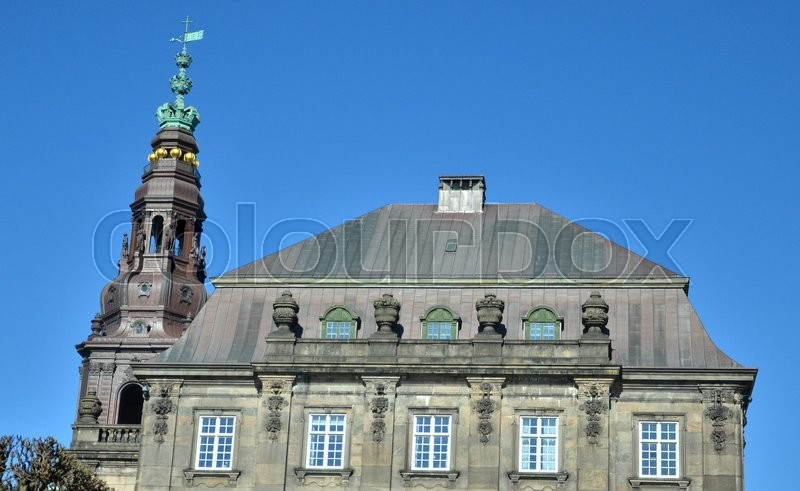 Editorial image of 'Christiansborg Palace, Now the Danish Parliament, Seen Against a Blue Sky'