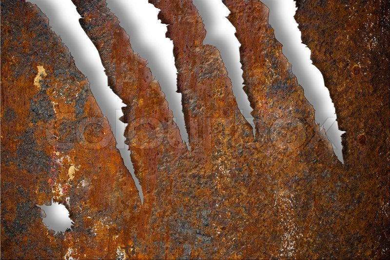rivets in rusty metal. torn rusty metal texture over white background rivets in
