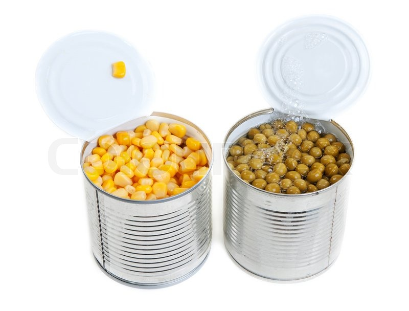 Two open Aluminium cans of corn and green peas | Stock Photo | Colourbox