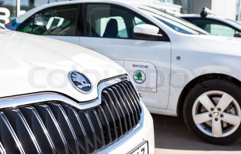 Editorial image of 'SAMARA, RUSSIA - MAY 14, 2016: Vehicles Skoda near the office of official dealer. Skoda Auto is an automobile manufacturer based in the Czech Republic'