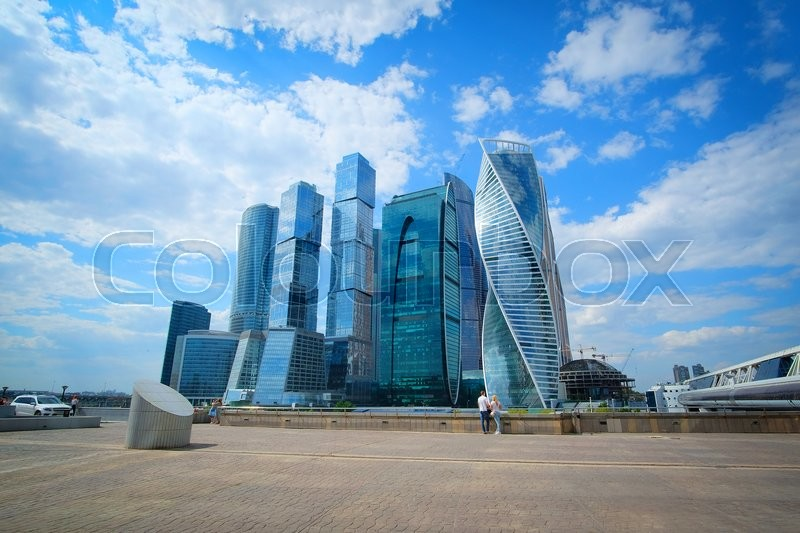 Stock image of 'Moscow, Russia - May, 11, 2016: Veiw od skyscrapes of Moscow City, Russia'