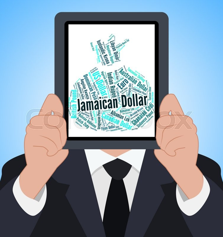 Stock image of 'Jamaican Dollar Meaning Foreign Exchange And Wordcloud'