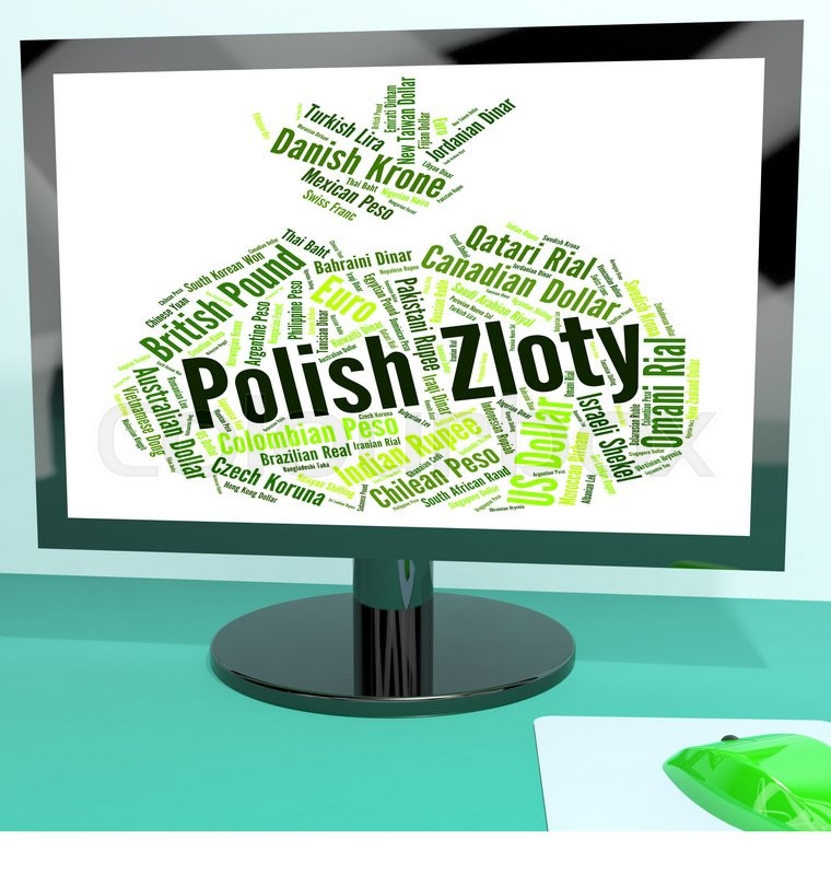 Stock image of 'Polish Zloty Representing Worldwide Trading And Foreign '