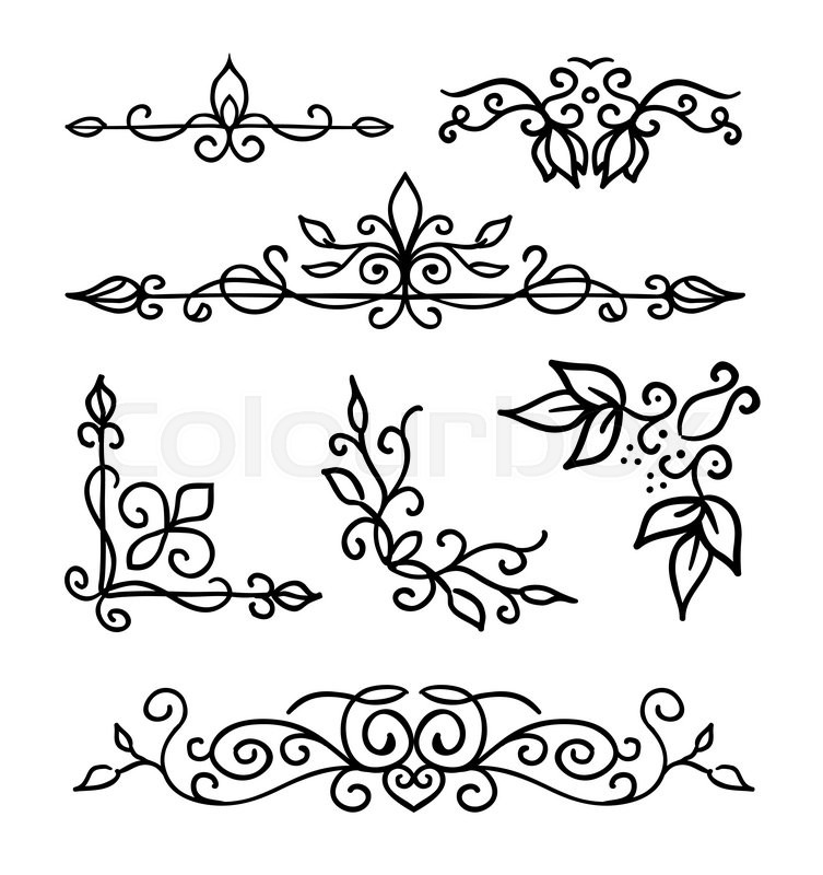 Hand drawn decoration elements, frames, page divider and border ...
