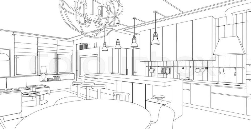 Line Drawing Room : Interior vector drawing architectural design living room
