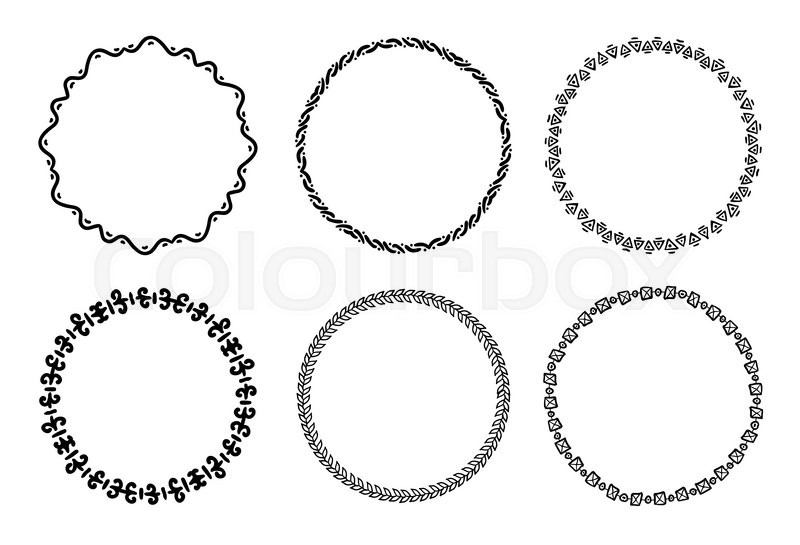 Collection of round decorative frames and labels with lines ...