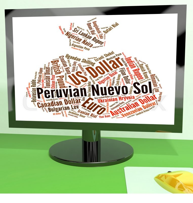 Stock image of 'Peruvian Nuevo Sol Meaning Foreign Currency And Coin '