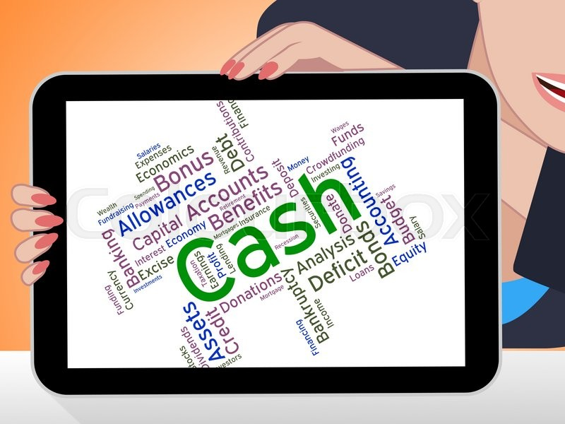 cash word indicates revenue wealthy and savings stock photo