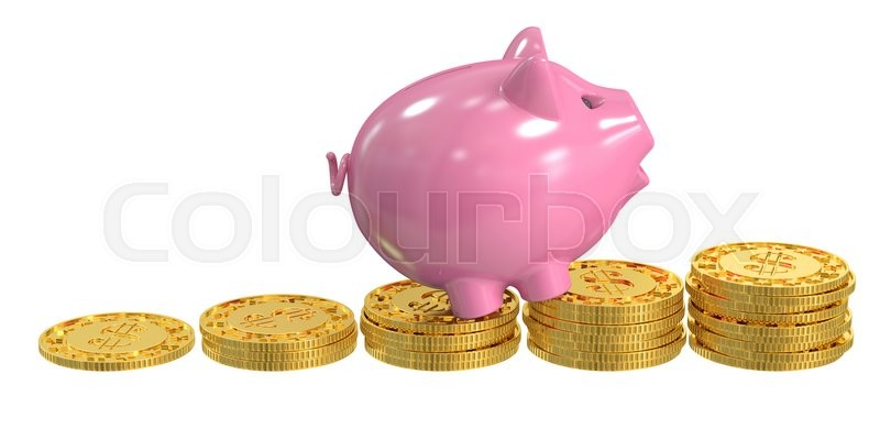 Stock image of 'Piggy bank and coins, financial success concept, 3D rendering'