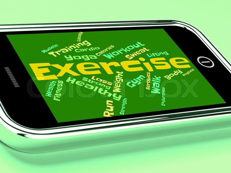 Stock image of 'Exercise Words Representing Physical Activity And Text'