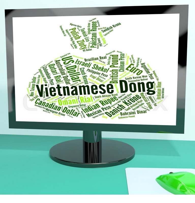 Stock image of 'Vietnamese Dong Means Foreign Exchange And Banknotes'