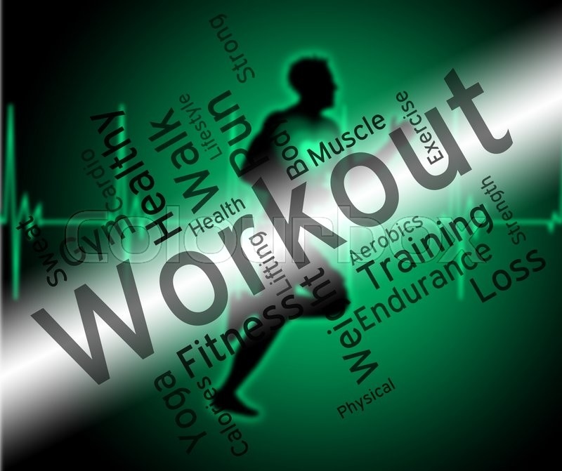 Stock image of 'Workout Words Shows Physical Activity And Athletic'