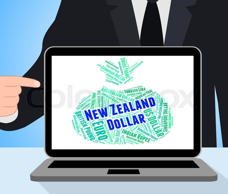 Stock image of 'New Zealand Dollar Showing Foreign Exchange And Banknote'
