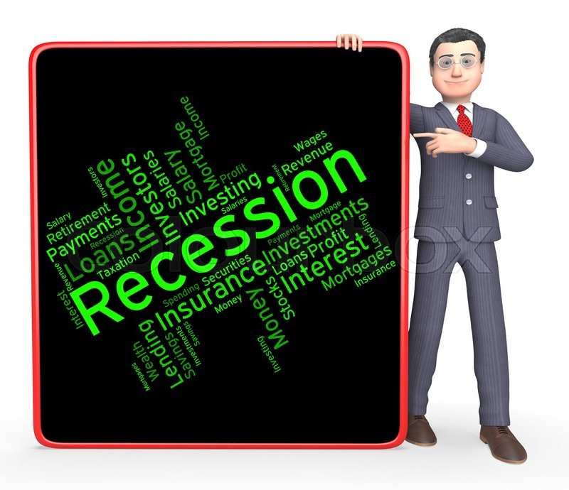Stock image of 'Recession Word Meaning Recessions Depressed And Depression '