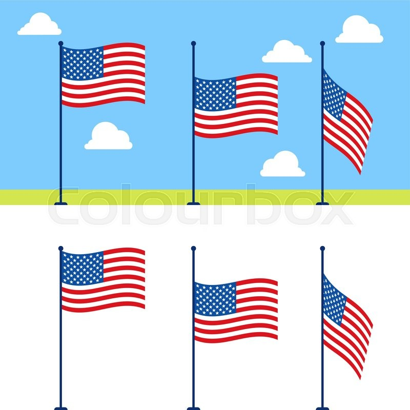flat usa flags vector set united states flag color vector rh colourbox com united states flag vector art united states flag vector art