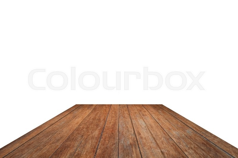 Stock image of 'Old wooden table top isolated on white background, stock photo'