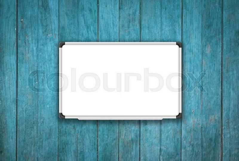 Stock image of 'Blank white board on blue wooden texture background, stock photo'