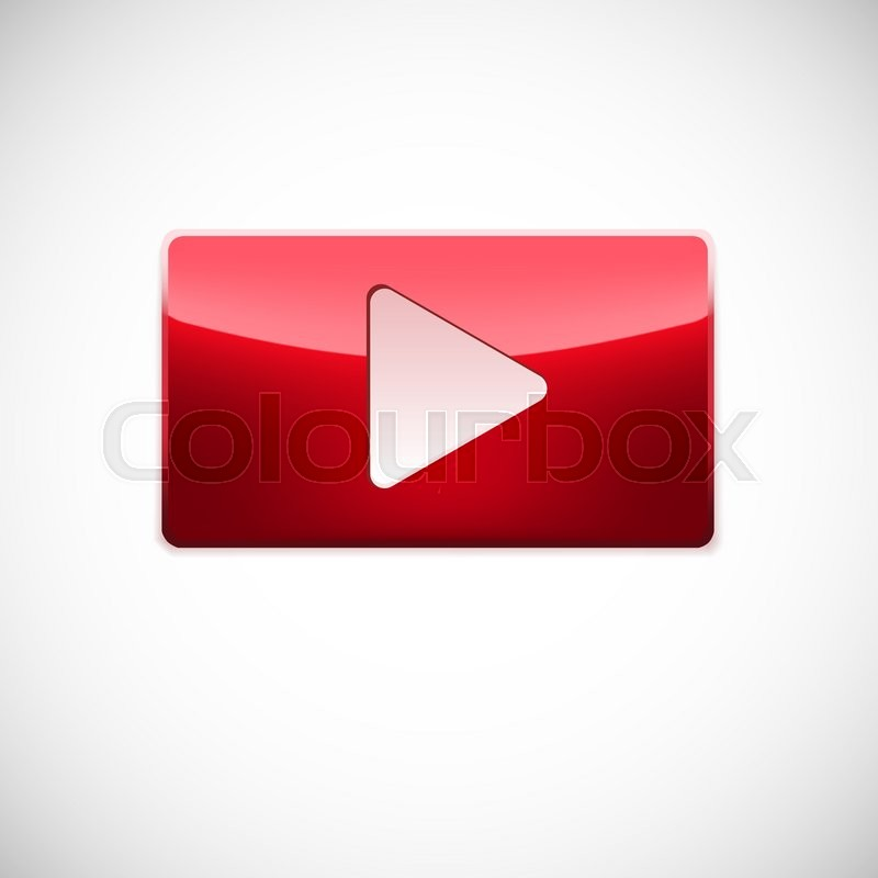 Stock image of 'Play button, red glossy button with white triangle turned right isolated over white background '