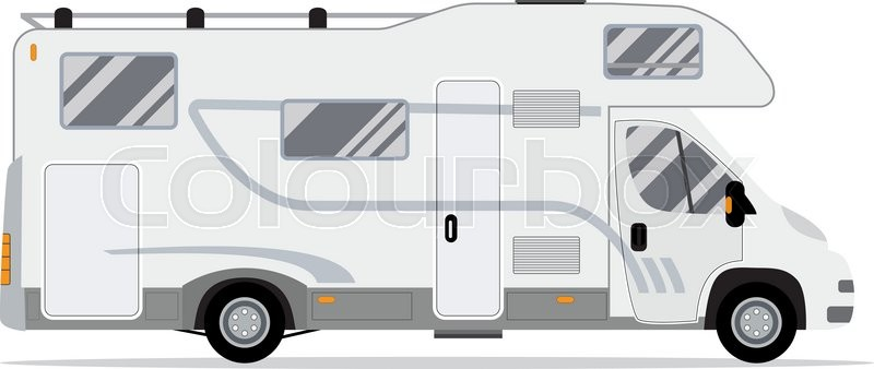 Rv Mobile Home Truck Traveler Flat Vector Icon Recreational Motor Vehicle Camping Trailer Family Caravan Motorhome Car