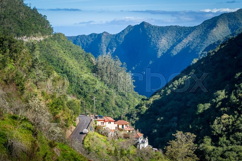 Stock image of 'Ribeiro Frio village between the mountains of Madeira, view from popular hiking route Balcoes levada. Madeira island, Portugal.'