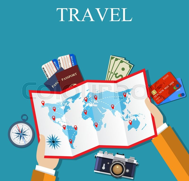 Cartoon hands hold folded paper map of world with color point cartoon hands hold folded paper map of world with color point markers flat travel background summer holidays vacation vector illustration in flat gumiabroncs Image collections