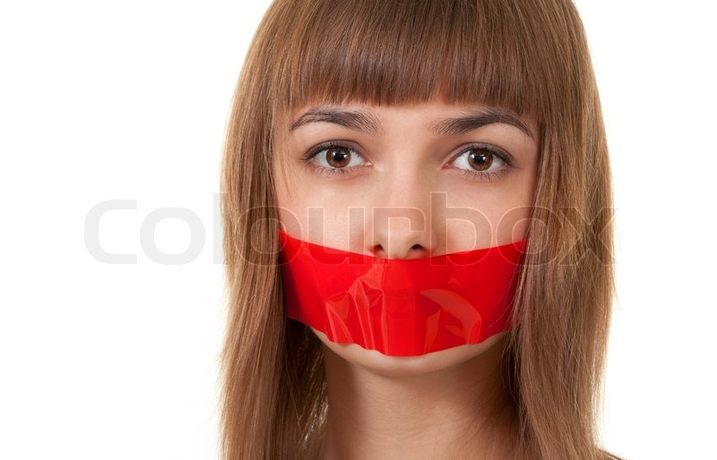 Связанные девушки заклеен рот скотчем