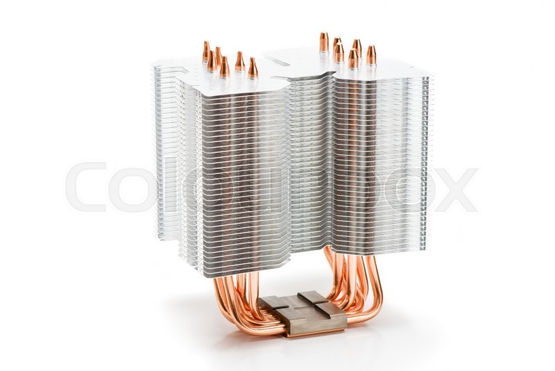 Stock image of 'Processor cooler tower type with heat pipe on white background'