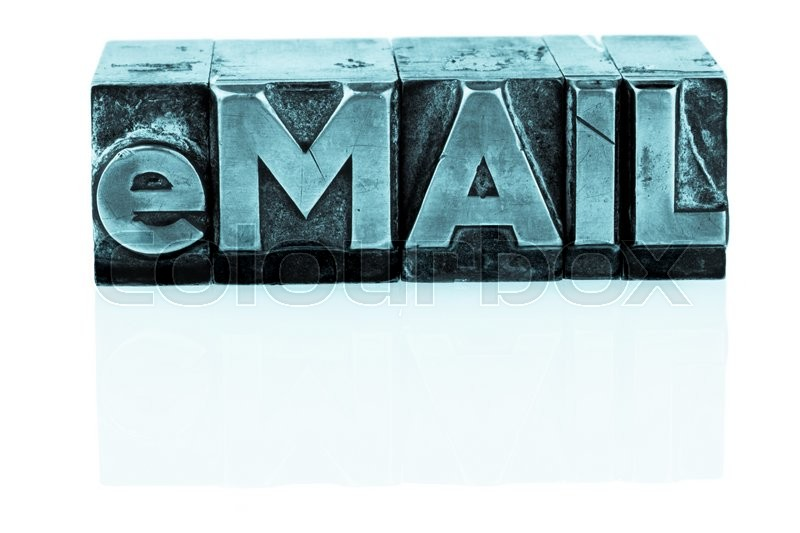 "Stock image of 'the word ""e-mail"" in lead letters written. symbol photo for quick correspondence'"