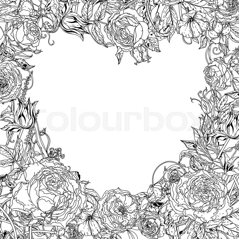 Uncolored Heart Shape Frame By Roses In Zenart Style Could Be Used For Adult Colouring Book Hand Drawn Doodle Vector The Best Your Design