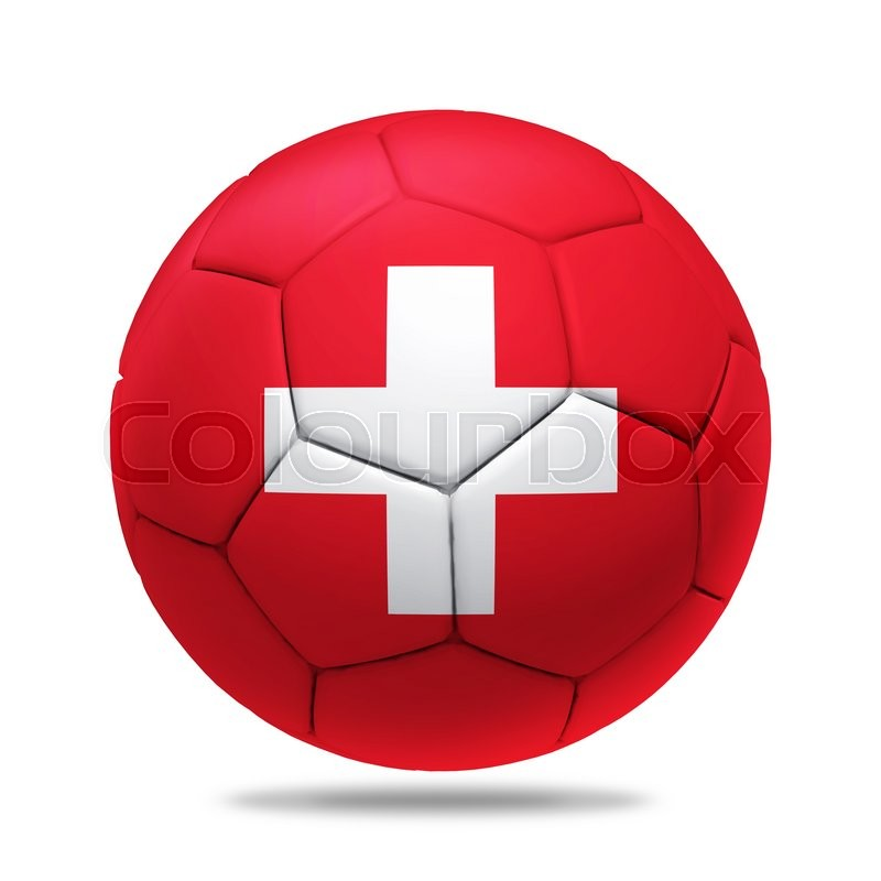 Stock image of '3D soccer ball with Switzerland team flag, isolated on white'