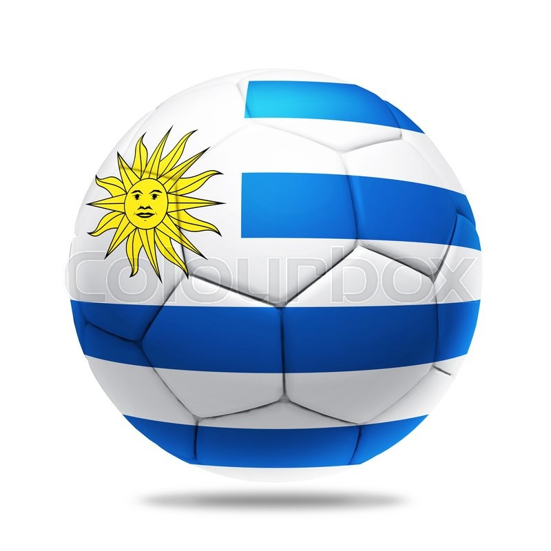Stock image of '3D soccer ball with Uruguay team flag, isolated on white'