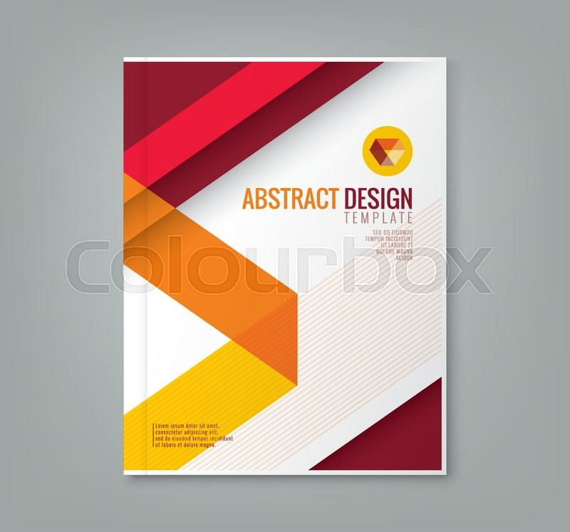 Business Book Cover Vector ~ Abstract red line design background template for business