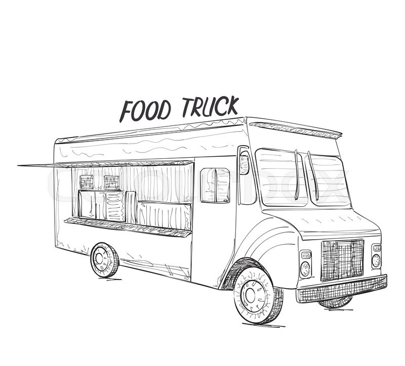 Hand Drawn Food Truck Delivery Service Sketch Stock
