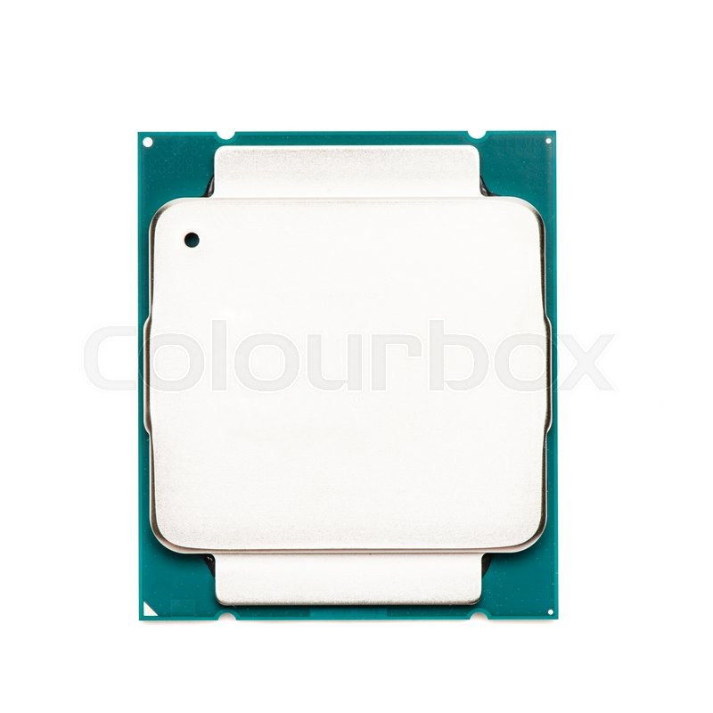 Stock image of 'Computer processor CPU isolated on white background, top view'
