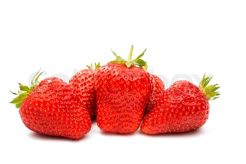 Stock image of 'Beautiful strawberries isolated on white'
