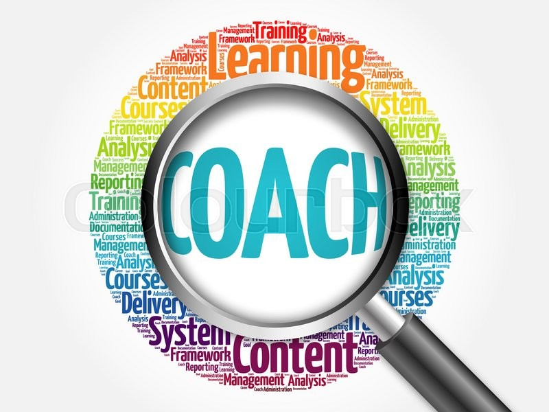 Stock image of 'Coach word cloud with magnifying glass, business concept'