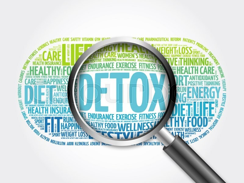 Stock image of 'DETOX word cloud with magnifying glass, health concept'